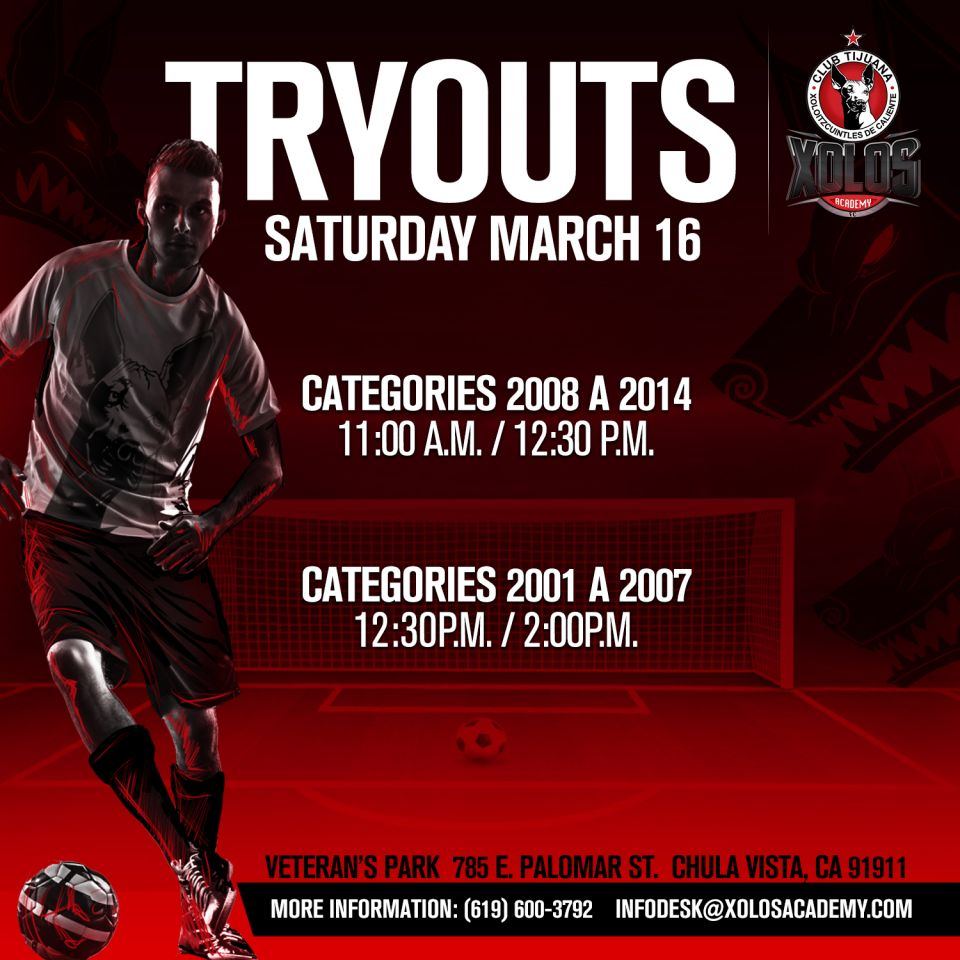 TRYOUTS MARCH 16, 2019